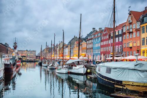 Photo  Night view of Nyhavn canal, Copenhagen