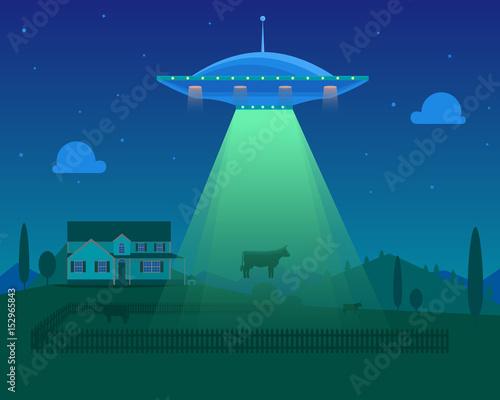 Photo Cartoon Aliens Spaceship or UFO Takes Cow. Vector