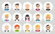 Cartoon Icons mit verschiedenen Menschen Frauen und Männer