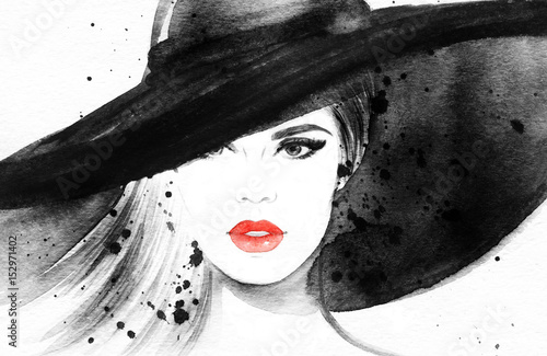 Poster Portrait Aquarelle Beautiful woman in hat. Fashion illustration. Watercolor painting