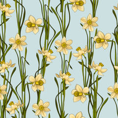 Fototapeta Style Elegance Seamless pattern with flowers daffodils, vector floral illustration in vintage style