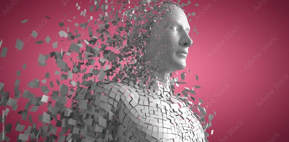 Composite image of digital gray pixelated 3d man