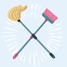 Cartoon Illustration Of Mop And Broom Isolated. Cleaning Symbols