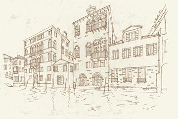 Vector sketch of architecture of Venice, Italy. Retro style.