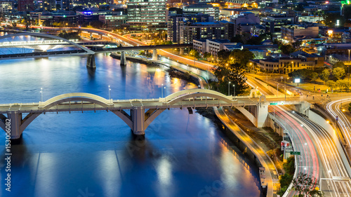 Brisbane City, Australia, Beautiful Panorama Aerial View of Kurilpa Bridge, Will Canvas-taulu