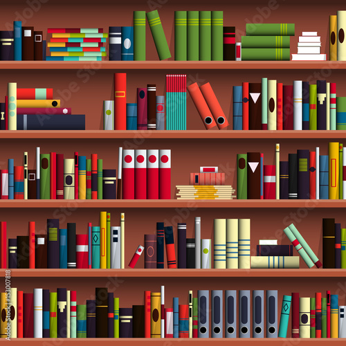 book shelves seamless pattern vector illustration library