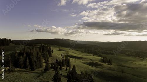 Foto op Aluminium Blauw Mountain views of the border Mountains of Switzerland