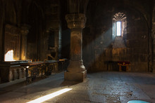 Interior Of The Old Church In The Monastery Of Geghard, Armenia