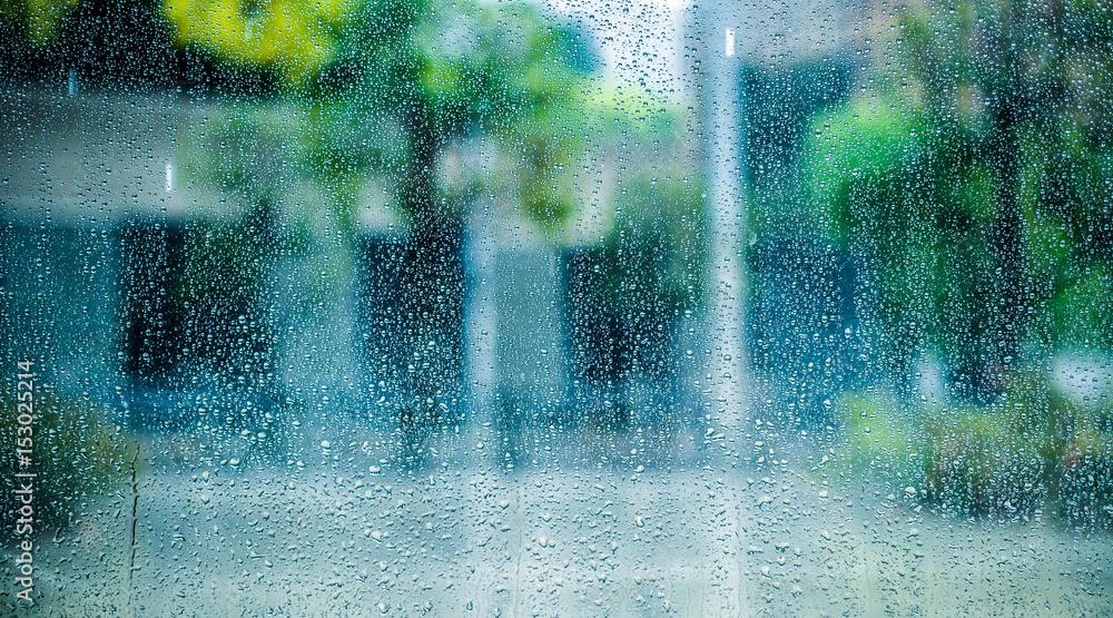 Fototapeta 都会と雨