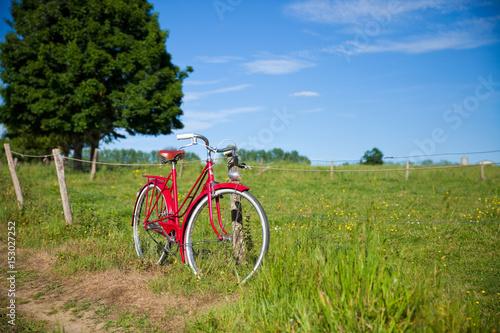 Deurstickers Fiets Vélo au bord du chemin