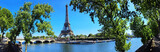 Fototapeta Fototapety Paryż - Paris mit Seine und Eiffelturm / Tour Eiffel / Eiffeltower - Panorama Banner