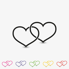 Set Of Two Outline Linked Hearts Vector Icon. Love Symbol Flat Illustration.