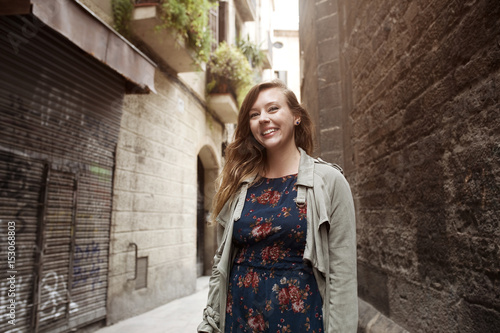 Cute young woman in the street