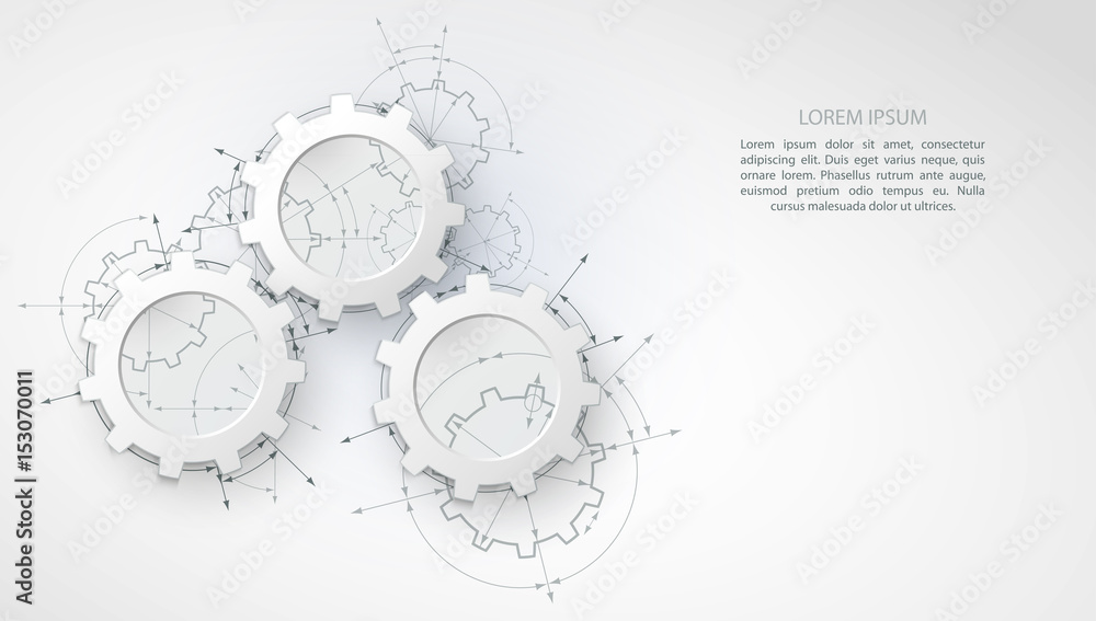 Fototapeta Gears in engagement. Engineering drawing abstract industrial background with a cogwheels.