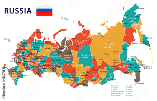 Russia - map and flag – illustration Tablou Canvas