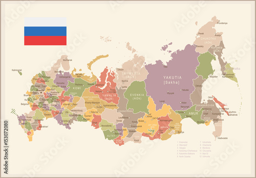 Obraz na plátně Russia - vintage map and flag - illustration