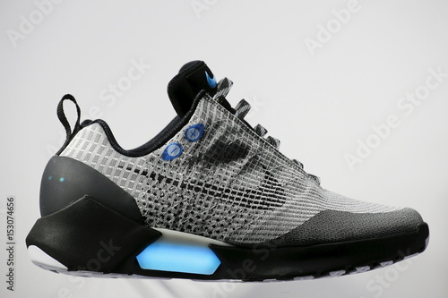 huge selection of a8500 4c93c The Nike HyperAdapt 1.0 self-lacing shoe is displayed during a Nike  unveiling event in New York,