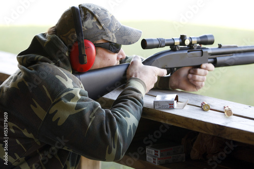 A hunter fires during a sighting in and test-firing of
