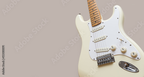 Photo  White Vintage Electric Guitar With Copy Space