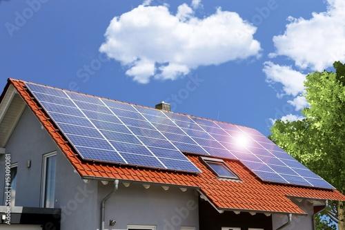 Obraz Roof with solar panels - fototapety do salonu