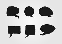 Speech Bubbles Painted With A Rough Brush. Sketch, Grunge, Graffiti. Set Of Six Isolated Black Stickers.