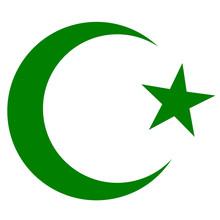 Symbol Of Islam, Crescent And Star Dark Green