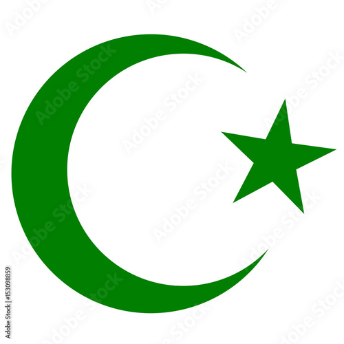 Photo symbol of Islam, crescent and star dark green