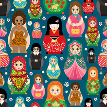Traditional Russian Doll Matryoshka Toy Nesting Vector Illustration With Human Girl Cute Face Seamless Pattern Background
