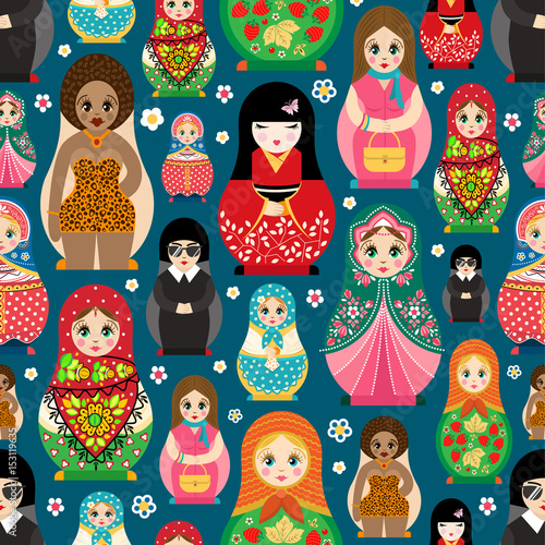 Tableau sur Toile Traditional Russian doll Matryoshka toy nesting vector illustration with human g