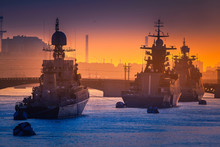 Parade Of Warships. Feast Of The Military Navy. St. Petersburg.