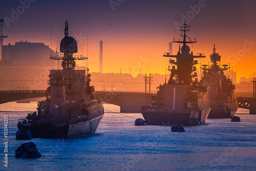 Photo  Parade of warships. Feast of the military navy. St. Petersburg.