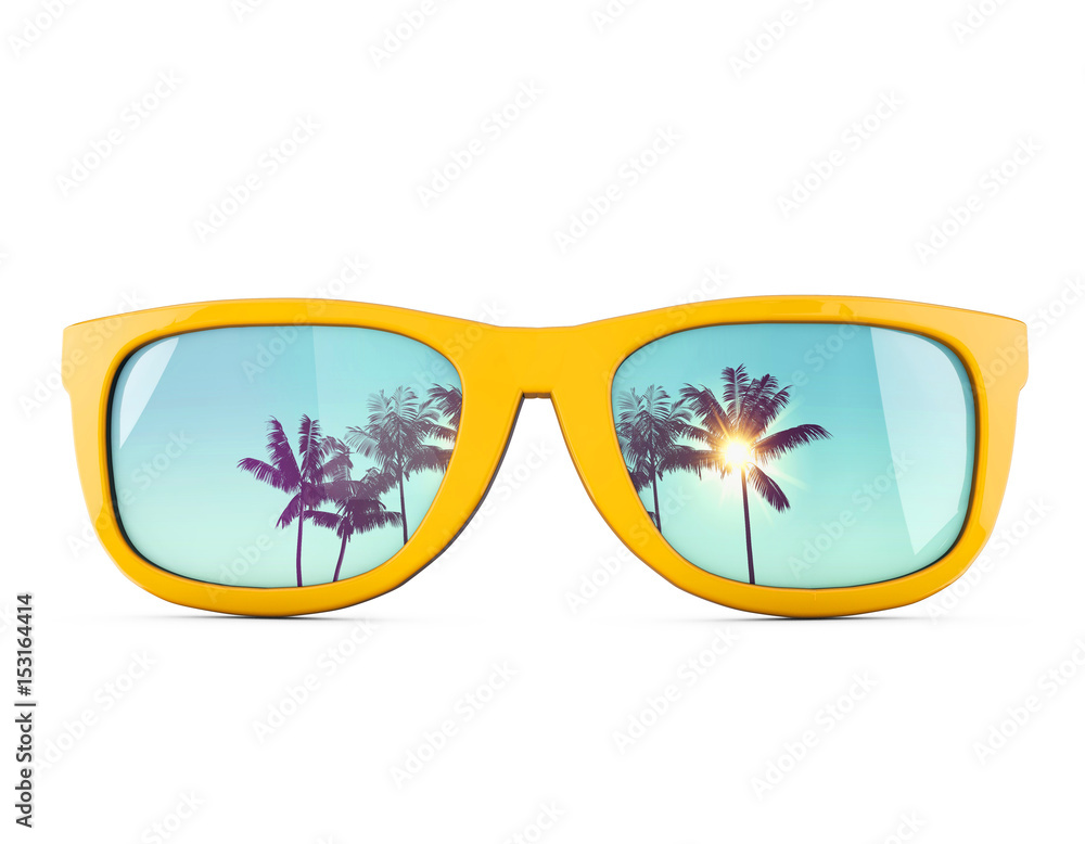Fototapeta Summer sunglasses with tropical palm tree reflections.