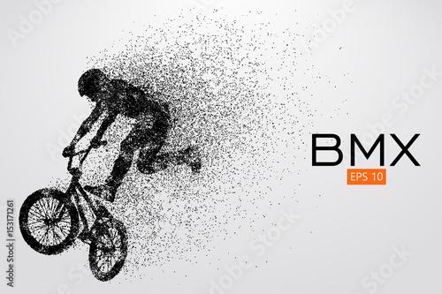 Silhouette of a BMX rider. Vector illustration Wallpaper Mural