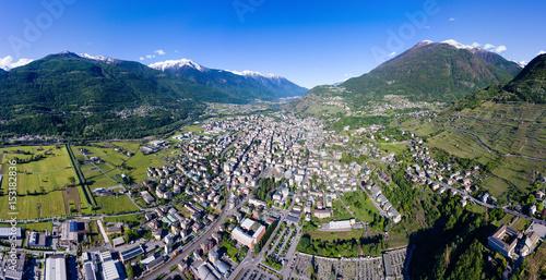 Panoramica aerea sulla città di Sondrio - Valtellina Poster