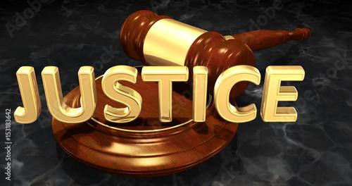 Justice Legal Gavel Concept 3D Illustration Wallpaper Mural
