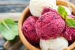 Leinwandbild Motiv Balls lemon and berry ice cream in a bowl close up.