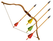 Archery Bow And Set Of Four Arrows