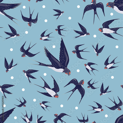 plakat Seamless Vector Pattern with Birds. Animal pattern. Swallows on a gray-blue background.Can be used for textile, manufacturing, book covers, wallpapers, print or gift wrap. Vector illustration