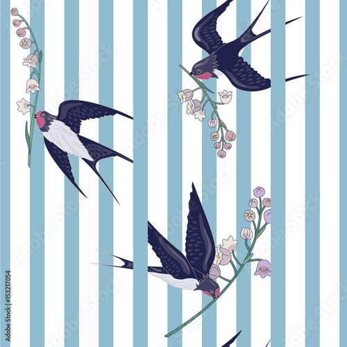 plakat Seamless striped pattern with birds and flowers. Swallows with lilies of the valley. Animal Pattern. Can be used for textile, manufacturing, book covers, wallpapers, print or gift wrap. Vector illustr