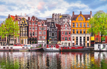 Amsterdam Netherlands Dancing Houses Over River Amstel Landmark