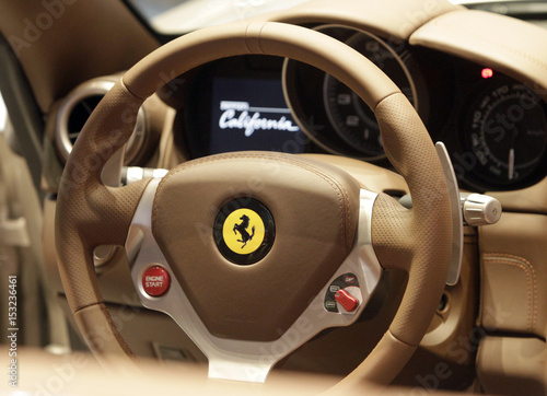 The Dashboard Of Ferrari California Car Is Displayed At The