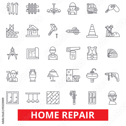 Fotografie, Obraz  Home repair, house improvement, renovation, handyman, construction, remodeling line icons