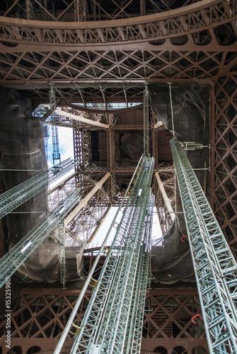 Aluminium Prints Old abandoned buildings Standing under Eiffel Tower Tour Eiffel blue sky clouds