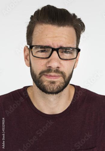 Fototapety, obrazy: Men Wear Glasses Think Concept