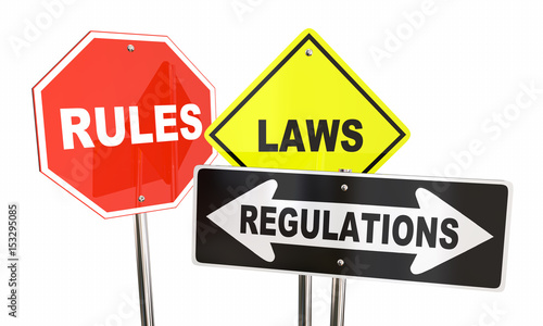 Photo  Rules Laws Regulations Stop Yield Road Signs 3d Illustration