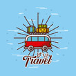 bus with travel related icons image vector illustration design