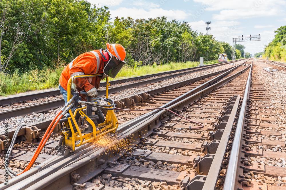 Fotografía  railroad track welding and grinding