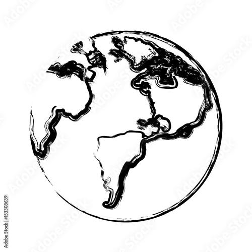 Foto op Plexiglas Schilderingen earth planet icon over white background. vector illustration