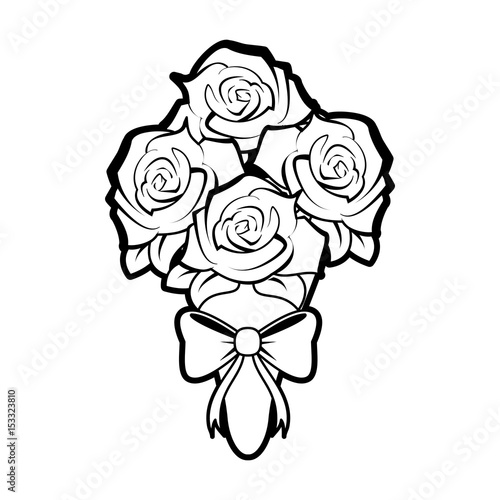 sketch silhouette image wedding bouquet of roses vector ...