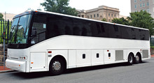 Parked White Tour Charter Bus ...